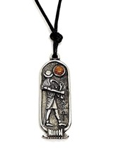Thoth Egyptian Zodiac Pendant 29 August to 27 Sept Cartouche Cord Necklace - $6.28