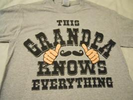 Men's Tee Shirt Sz S 34-36 Gray This Grandpa Know Everything - $11.99