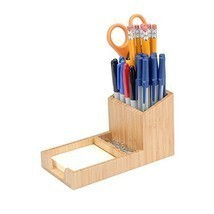 MobileVision Bamboo Pencil Holder with Tray for storing and organizing s... - $17.71