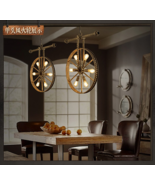 Industrial Hot Wheel Ceiling Lamp E27 Light Fixture Steampunk Pendant Ch... - $147.38