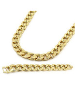 "Hip Hop 14K Gold Plated 16mm Miami Cuban Link 30"" Chain Necklace & 8.5"" ... - $29.91"