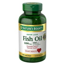 Nature's Bounty ODOR-LESS Fish Oil 1400mg, 980mg Omega-3 130 Coated Soft... - $21.46