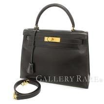HERMES Kelly 28 Sellier Veau Box Noir 2Way Handbag #U Authentic 5454976 - $7,527.43