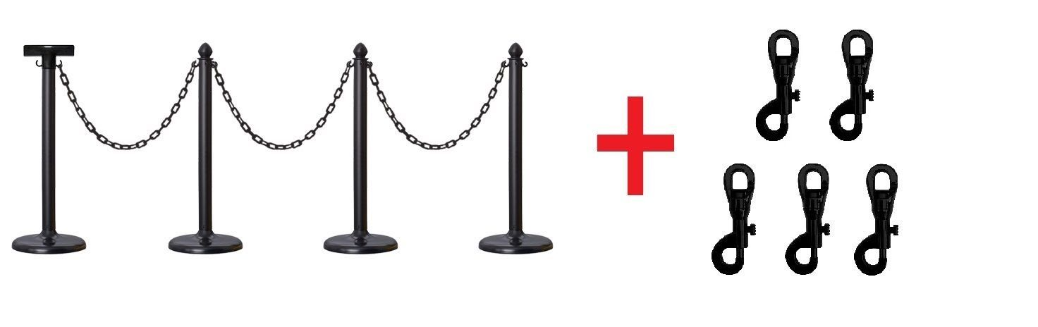 PLASTIC STANCHION, 32' CHAIN + SIGN BRACKET + P. SNAPS, VIP CROWD CONTROL