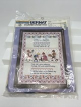 "Bernat Counted Cross Stitch Kit H04032 Mondays Child 14 x 18"" Vintage 1983 - $19.79"