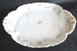 """Haviland Limoges Porcelain Oval Platter 15.75""""L Blue Flowers Design - $54.44"""