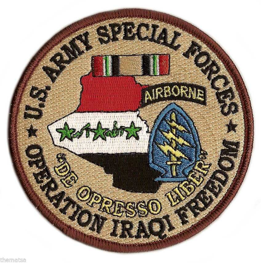 "ARMY SPECIAL FORCES AIRBORNE OIF OPERATION IRAQI FREEDOM RIBBON 4"" PATCH"