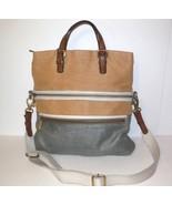 Fossil Explorer Large Fold Over Shoulder Bag Tote Straw Leather Trim Tan... - $70.00