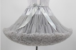 Fashion Gray Organza Girls Petticoats Bow Cosplay Underskirts Tutu Weddi... - $26.22