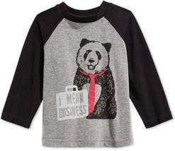 First Impressions Baby Boys' Raglan-Sleeve Panda T-Shirt, Pewter Heather, 3-6M - $8.90