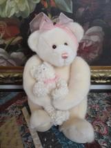 Gund Mother Bear Holding Baby 46238 Cream Plush 14 inch Brocade Backpack  - $83.60