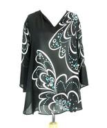BOB MACKIE Size 2X Wearable Art Sheer Flowy Top Mint Condition - $44.99