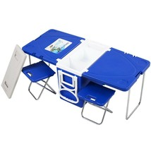 Blue Rolling 28L Cooler With Table And 2 Chairs Multi Functional Picnic ... - $90.99