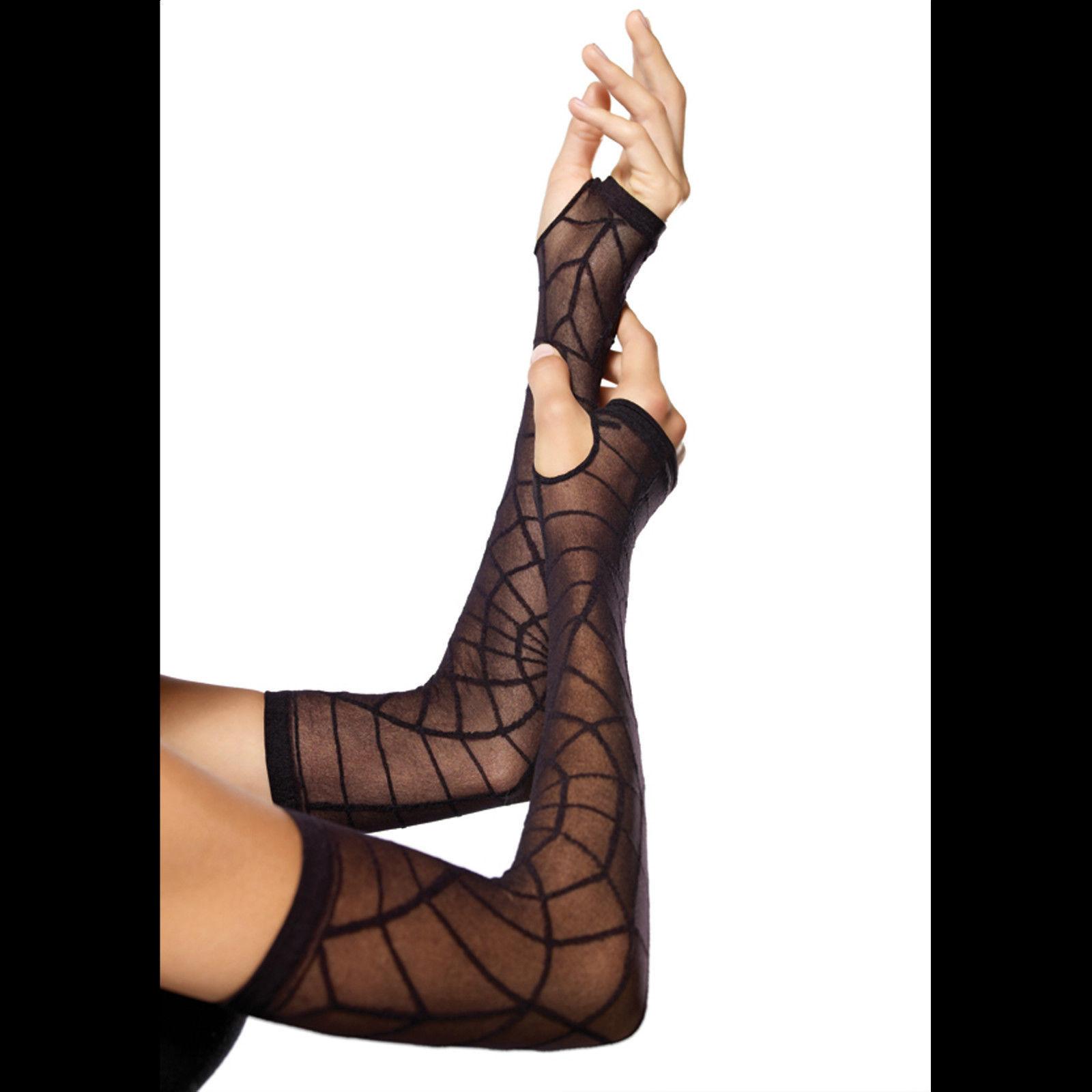 Black Gothic Vampire SPIDER WEB ARM WARMER SLEEVES Lolita Cosplay Costume Gloves