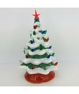 """Ceramic Lighted Christmas Tree 12"""" Tall Battery Operated Red Base - $29.69"""
