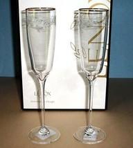 "Lenox Heritage Home Pair Champagne Flutes Gold Rim Etched Florals 10""H N... - $36.90"