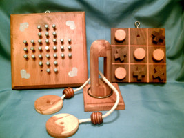 LOT OF 3 Hand Crafted Vintage Wooden Mind Puzzles Challenge Games Ring &... - $25.00