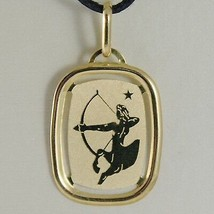 SOLID 18K YELLOW GOLD SAGITTARIUS ZODIAC SIGN MEDAL PENDANT, MADE IN ITALY image 1