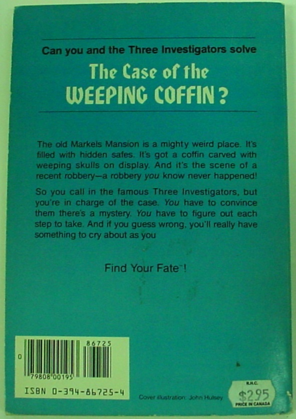 Three Investigators Find Your Fate RH #1 Case of the Weeping Coffin Megan Stine