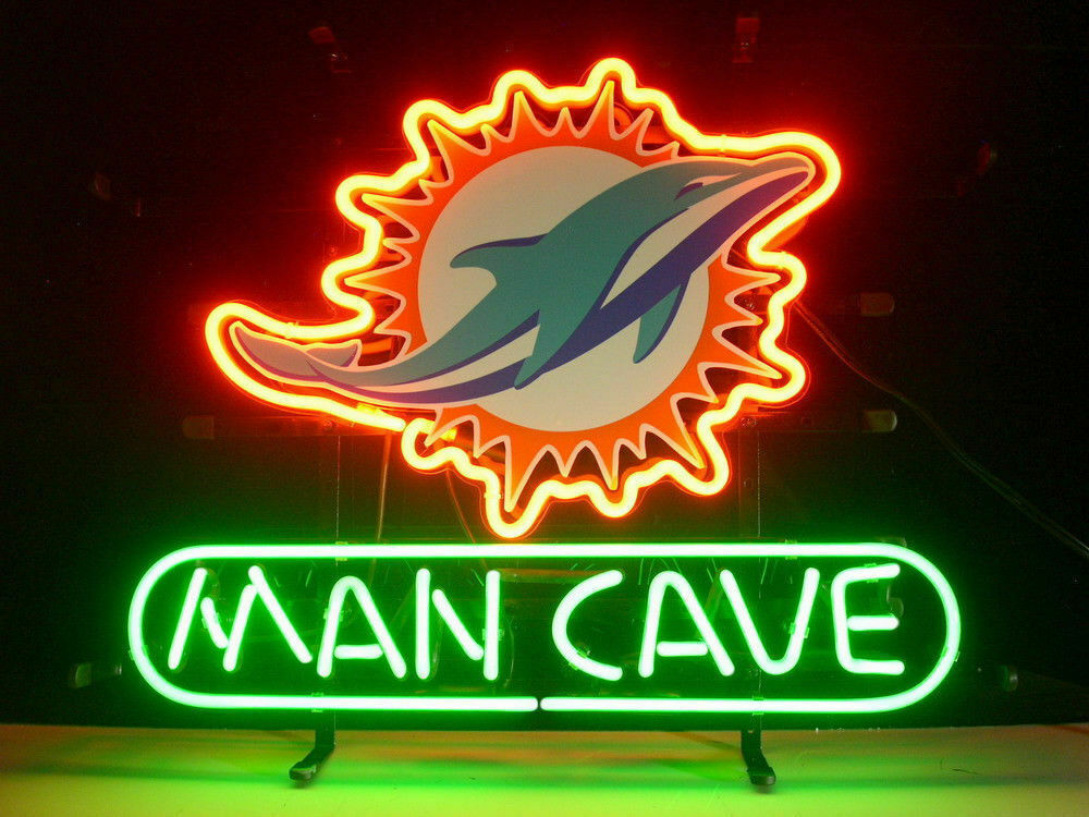 """Man Cave Miami Dolphins Neon Sign 14""""x10"""" Beer Bar Light Artwork Poster"""