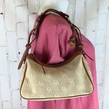 Dooney & Bourke medium Signature D&B Logo purse Tan Leather Taupe Canvas... - $35.00