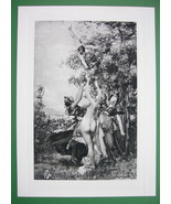 NUDE Greek Goddesses Beauty Contest - SUPERB Antique Print - $23.56