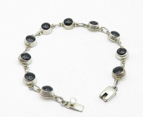 925 Sterling Silver - Vintage Black Onyx Round Link Smooth Chain Bracelet- B4867