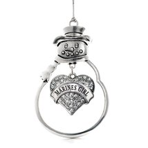 Inspired Silver Marines Girl Pave Heart Snowman Holiday Christmas Tree Ornament  - $14.69