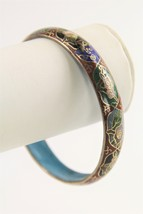 "6.5"" ESTATE VINTAGE Jewelry CHINESE EXPORT MULTI COLOR CLOISONNE BANGLE ... - $15.00"