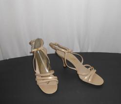 Salvadore Ferragamo Beige Leather  Bows Ankle Strap Heels Sandals 8.5 Ex... - $60.76