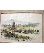 "Framed Decorative Japanese Print, ""The Taveler"", by Kawano - $4.90"