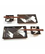 Hand Crafted Zen Design Sushi For Two Set Brush Stroke Black/White Dinne... - $51.04