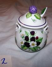Vintage 1991 Lenox Fine Porcelain Blackberry-decorated Jam Jar w/spoon-#2 - $10.00