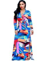 Deep V Neck Split Women's Maxi Dress - $53.97