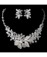 Silver Rhodium Clear Swarovski Crystal Bead Bridal Wedding Necklace Jewe... - €125,75 EUR