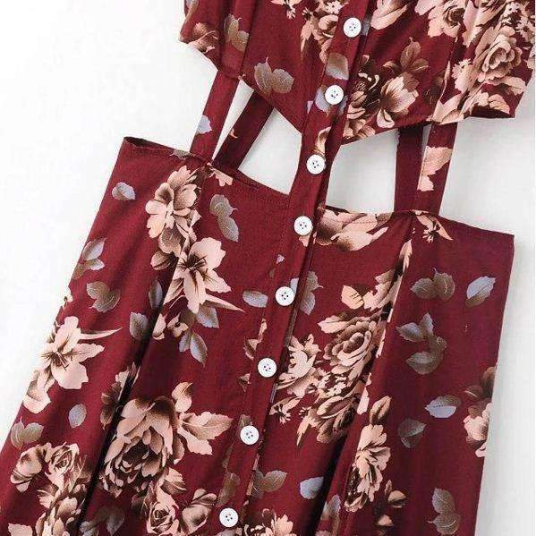 Cut Out High Slit Floral Women Maxi Dress