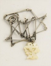 """14"""" VINTAGE Jewelry VINTAGE MOTHER OF PEARL CHINESE CHARACTER PENDANT NE... - $10.00"""