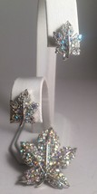 Vintage Aurora Borealis Rhinestone Leaf Pin Brooch Screwback Earring Set - $24.12