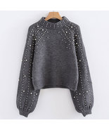 Fashion Women Sweater  Autumn Winter Long Sleeve Solid Pearls High Colla... - $38.99