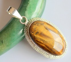 Tiger's Eye Silver Overlay Handmade Pendant Jewelry-oj-418-20_222 - $4.49