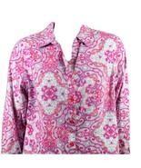 Chico's Shirt Sz 3 Womens XL Pink Paisley 100% Cotton Button Front Long ... - $29.99
