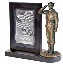 US Navy Bronze Cast Resin Statue With Cherry Base Photo Frame  - $49.49