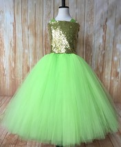 Apple Green & Gold Girls Tutu Dress, Green and Gold Birthday Party Tutu Dress - $50.00+