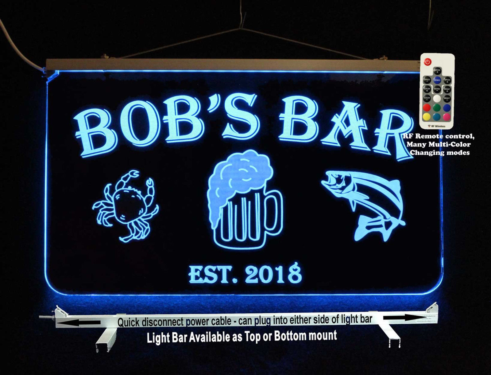 Primary image for Personalized Bar Sign, Man Cave Sign, Game Room Sign, Fish, Crab, Beer
