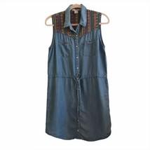 Forever 21 Womens Medium Dress Chambray Southwestern Boho Faux Pearl Snap - $15.45