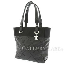CHANEL Paris Biarritz Tote PM Canvas Leather Black A34208 CC Logo Authentic - $931.41