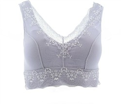 Rhonda Shear Lace Overlay Bra Gray Lilac 2X NEW 649-755 - $23.74