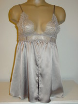 Victorias Secret silver gray satin chemise slip lace cups open front sissy-S NEW - $13.96