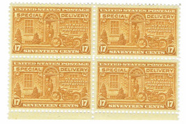 1944 Motorcycle Special Delivery Block of 4 US Stamps Catalog Number E18 MNH