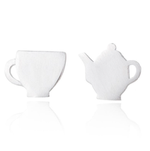 5 pairs of  Tea Pot and Cup Silver Plated Stud Earring Stud (NED205C) - $12.50